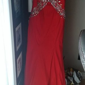 Rachel Allan Dresses - Red Embellished Open Back Dress